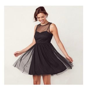 LC Lauren Conrad Black fit and flare tulle dress
